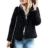 KaloryWee Rust Teddy Coat Faux Fleece Jacket Womens Fur Lapel Collar Coat Winter Warm Teddy Bear Outwear Black