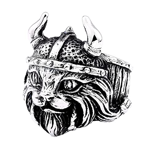 DFWY Anillo de Acero Inoxidable para Hombre con Sombrero Vikingo Y Gato, Anillo de Boda Punk Vintage Pirata Nórdico, Estilo Gótico Edad Media Joyería Escandinava (Size : 09)