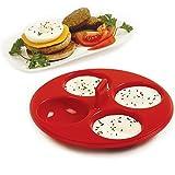 Silicone Nonstick 4 Egg Poacher Stovetop Pan or Microwave
