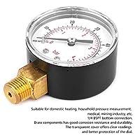圧力計、実用的な50mm圧力試験ゲージ多目的空気用ガス用水用燃料用石油用(0-60psi 0-4bar)