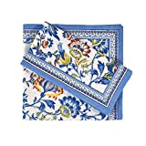 FINGERCRAFT Cloth Napkins Set of 12 Cotton Linen Blend Printed Dinner Napkins Perfect for Parties Dinners Weddings Cocktail Christmas Napkins Cloth 20x20 Blue Floral