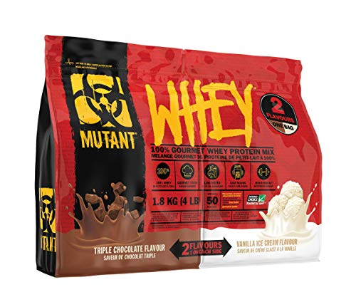MUTANT WHEY – 2 Flavors in 1 Bag! 100% Whey Protein Powder, Gourmet Taste, 22g of Protein, 10.4 g EAAs, 5 g BCAAs, Fast Absorbing, Easy Digesting, Triple Chocolate and Vanilla Ice Cream - 1.8 kg