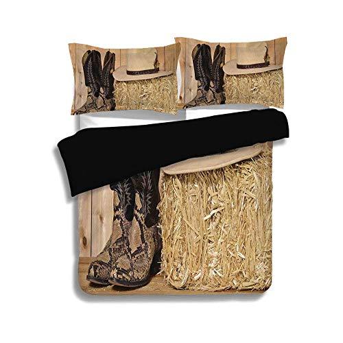 Schwarzer Bettbezug-Set, Western-Dekor, Cowboystiefel aus Schlangenleder in Scheune mit Heu Old West Austin Texas, Creme-Braun, Dekoratives 3-teiliges Bettwäscheset von 2 Pillow Shams, QUEEN / FULL Si