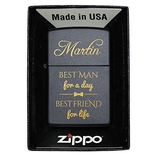 Pixelstudio Zippo Best Man Beste gepersonaliseerde gepersonaliseerde naam individuele aansteker zwart man Nur Zippo (unbefüllt)