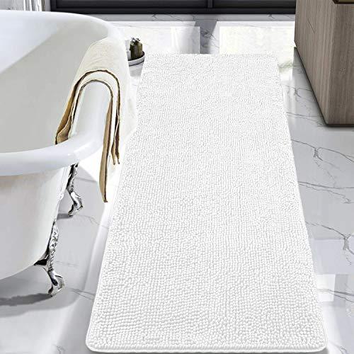 LOCHAS Luxury Bathroom Rug Shaggy Bath Mat 24 x 60 Inch, Washable Non Slip Bath Rugs for Bathroom Shower, Soft Plush Chenille Absorbent Carpets Mats, White