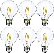 Energetic Lighting Dimmable LED Edison Light Bulb, G25 (G80) Globe Bulb, 60W Equivalent, 5000K Daylight, Christmas Light, E26 Standard Base, UL Listed, 6-Pack
