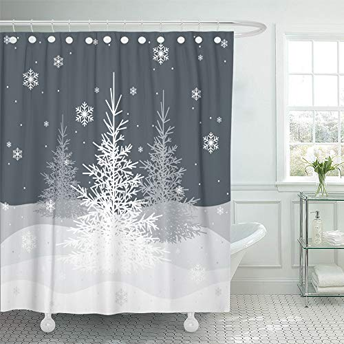 """Emvency Decorative Shower Curtain Gray Winter Christmas Trees on Grey White Snowflake 72""""x72"""" Waterproof Bathroom Shower Curtain Set with Hooks"""