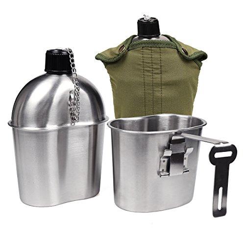 Goetland Kit 1QT de acero inoxidable de la Segunda Guerra Mundial de los Estados Unidos con cubierta de nylon de la taza de 0.5QT G.I.