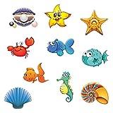 Toyvian 20 pcs Anti-Rutsch Sticker Badewanne Sticker Meerestiere Form selbstklebend für Badewanne Dusche Bad Kinder