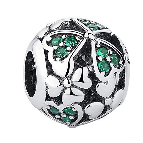 DIY Plata De Ley 925 Flores De Trébol Verde Cuentas Redondas con Abalorios Joyería De Moda para Mujer Adecuado para Pandora Pulsera Brazalete Regalo