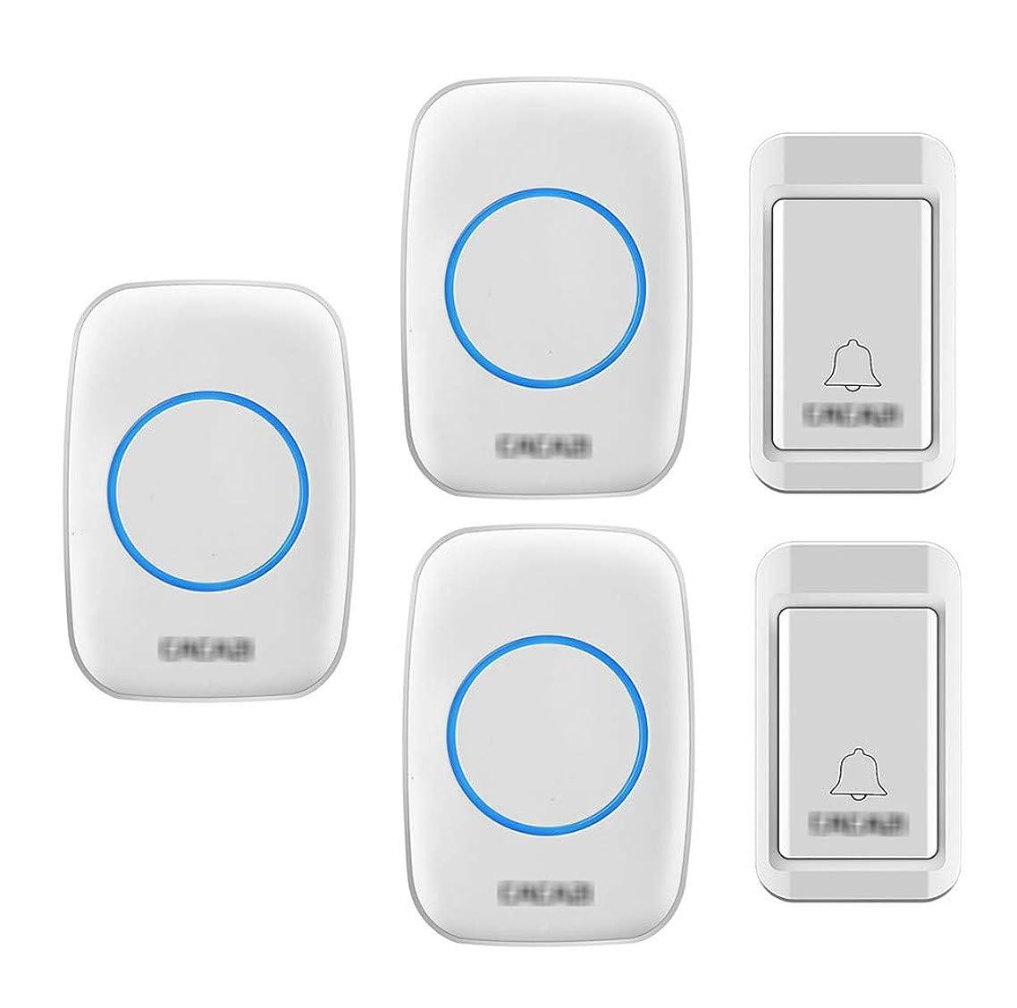大腿バイバイ言語セルフパワーワイヤレスドアベル、IP44防水ドアチャイムキット1つの送信機および3つの受信機 3レベルボリュームと36チャイムミュージカルドアベル,白