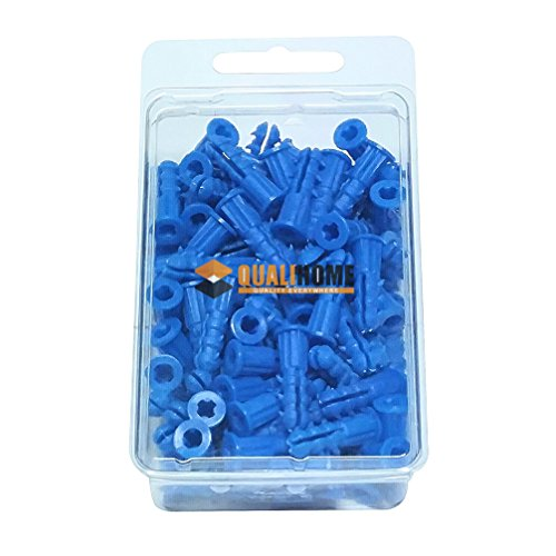 Premium Quality Blue Ribbed Plastic Wall Anchors for Drywall 100 Pack (#10-12 x 1
