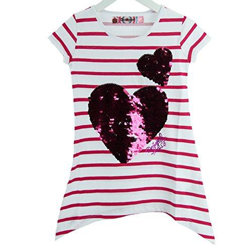 Desigual, camiseta manga corta con corazón de lentejuelas rosa fucsia 14 años