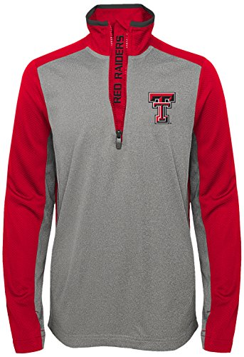 """NCAA by Outerstuff NCAA Texas Tech Red Raiders Youth Boys """"Matrix"""" 1/4 Zip Long Sleeve Top, Red, Youth Medium(10-12)"""