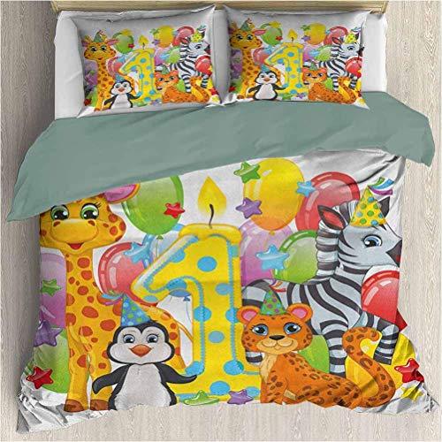1. Geburtstag 3-teiliges fein bedrucktes Bettbezug-Set Kinderparty mit Baby-Safari-Tieren Zebra-Löwen-Luftballons Hintergrund Bunt bedrucktes Bettbezug-Set mit 2 Kissenbezügen Multicolor Queen Size