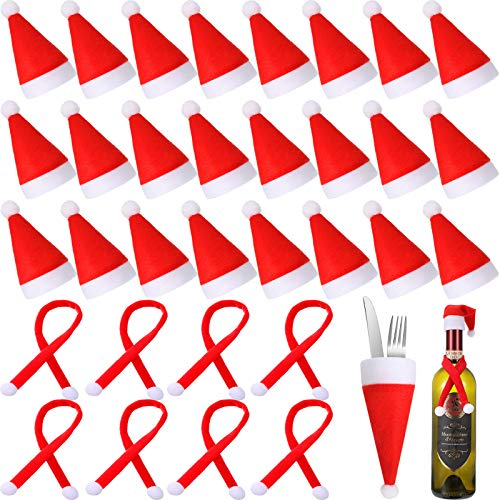60 Pieces Mini Christmas Santa Hats Mini Christmas Scarves Christmas Santa Bottle Hats Mini Santa Bottle Covers for Xmas Wine Bottle Decorations Candy Covers Silverware Holders