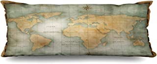 Ahawoso Zippered Body Pillow Cover 20x54 Inches Finding Worn Design Old Nautical Tour Treasure Surface Burnt World Texture Map Vintage Textures Decorative Cushion Case Home Decor Pillowcase