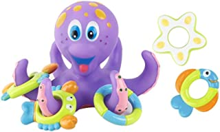 TBYC Cartoon Floating Purple Octopus with 3 Hoopla Rings Interactive Bath Toy Educational Toys Floating Water Playing Toys...