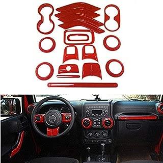 Opall 18PCS Full Set Interior Decoration Trim Kit Steering Wheel & Center Console Air Outlet Trim, Door Handle Cover Inner For Jeep Wrangler JK JKU 2011-2018 2 Door &4 Door (Red)