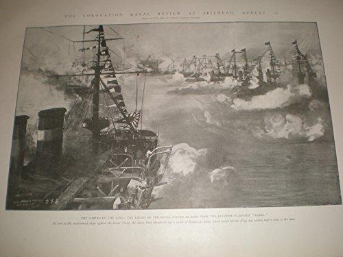 Illustrated london News Antiguo Impresión 1902Coronación Naval Review Spithead Royal Salute para King