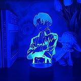 3D nightlight Sleep lamp for Boys,Anime Attack on Titan for Home Room Decor Cool Kid Child Gift Captain Levi Ackerman Figure,7 Color KATA
