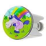 Grinscard Waschbecken Stöpsel Drunky Unicorn Design - ca. 7 x 4 cm - Comic Spülbecken Abflussstopfen als Geschenk
