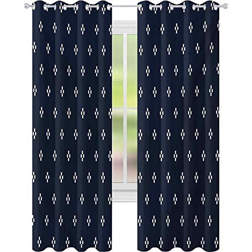 cortinas de dormitorio, Cruz Plus como formas cuadradas sobre fondo oscuro azul marino inspirado imagen impresión, W52 x L108 Blackout ventana drapeado para dormitorio, azul oscuro blanco
