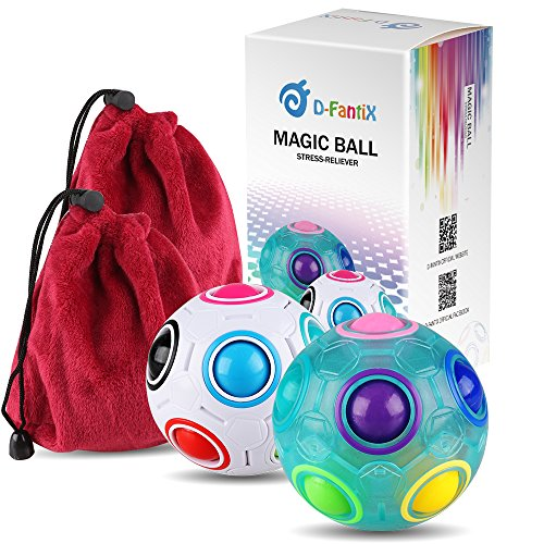 D-FantiX Rainbow Puzzle Ball Cube Magic Rainbow Ball Puzzle Bundle Stress Fidget Ball Brain Teasers Games Fidget Toys for Kids Set of 2