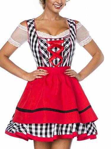 Onbekend Dirndl jurk kostuum met schort minidirndl met ruitmotief en uitgereikte rokdeel Oktoberfest Dirndl zwart/wit/rood donker