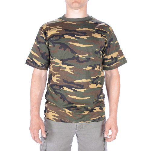 TEE SHIRT CAMO CAMOUFLAGE WOODLAND COL ROND ET MANCHES COURTES MILTEC 11012020 AIRSOFT ,XL,Marron