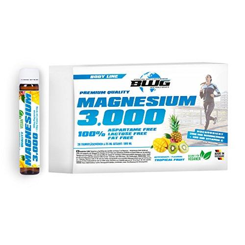 BWG Magnesium 3000 Hochdosiert & Vegan, Magnesiumcitrat Liquid, schnell verfügbar & hoch bioaktiv, plus Vitamin C, Mineralstoff trägt zur harmonischen Muskelfunktion bei, 20 Ampullen a\' 25 ml