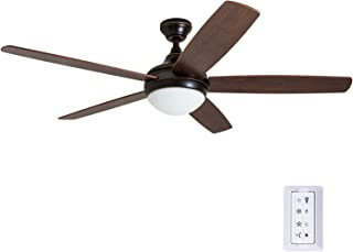"""Prominence Home 80093-01 Ashby Contemporary Indoor Ceiling Fan with Remote Control and LED Fixture, 52"""", Espresso Bronze"""