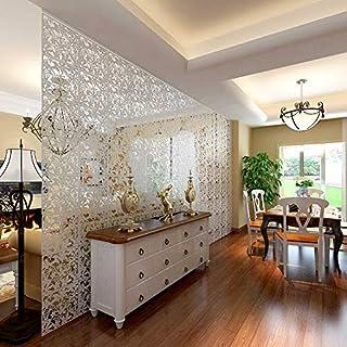 Yizunnu Juego de 4 paneles separadores de PVC para colgar en el hogar hotel bar decoración 40 x 40 cm madera Blanco...