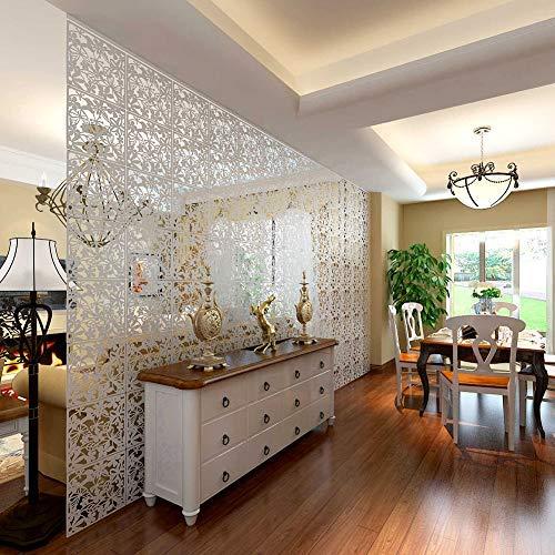 Yizunnu Juego de 4 paneles separadores de PVC para colgar en el hogar, hotel, bar, decoración, 40 x 40 cm, madera, Blanco, 40 x 40 cm