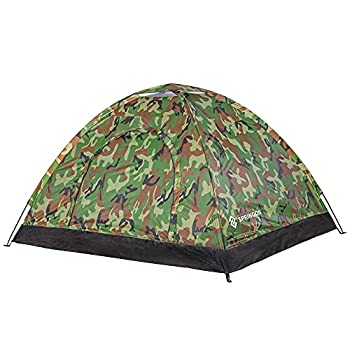 SPRINGOS Tente de camping avec moustiquaire 200 x 200 x 135 cm pour 3 personnes, 1 chambre en fibre de verre et cadre ventilateurs (style militaire)