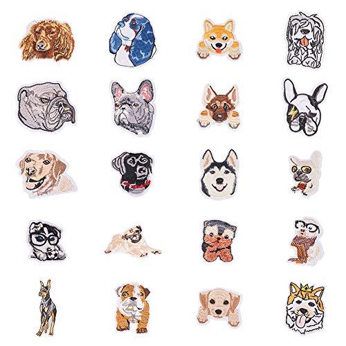 PandaHall Elite 20 parches de tela para planchar o coser con temática de perro bordado para sombrero, chaquetas, mochilas, pantalones vaqueros, ropa y zapatos