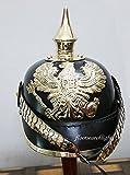 Preußische Leder Pickelhaube Deutsch Helm Erste Weltkrieg W/gewinnen Spike Kinn Maßstab Armor