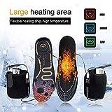 Plantillas Calefactables USB, Plantillas Termicas Calefactables para Esquí, Caza, Pesca con Hielo, Tamaño Ajustable 36-46, 3 Temperatura Ajuste