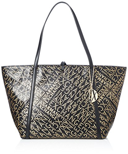 Armani Exchange Damen Gold Logo Shopping Bag Tote Gold (Black/Gold)