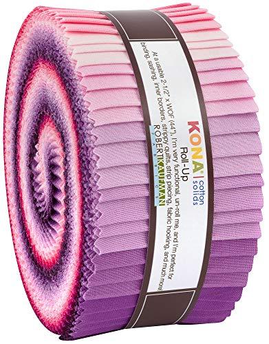 """Robert Kaufman Kona Cotton Solids Wildberry Roll Up 2.5"""" Precut Cotton Fabric Quilting Strips Jelly Roll Assortment RU-778-40"""