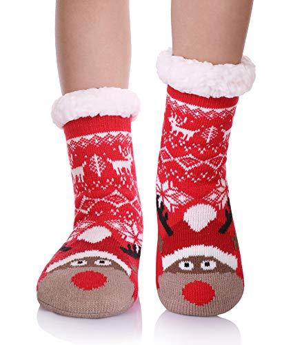 YEBING Kids Boys Girls Slipper Socks Cute Animal Fuzzy Winter Warm Fleece Lining Christmas Socks With Grippers Christmas Deer,3-5 Year Old