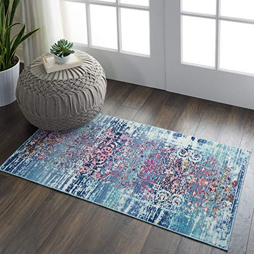 Nourison Vintage Kashan Teppich, Mehrfarbig, Boho-Stil, 60 x 100 cm, Blau