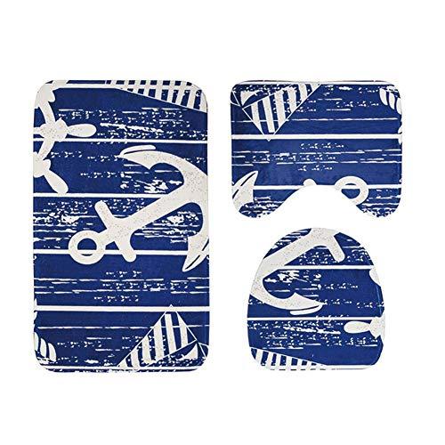 Somedays Badezimmer Vorleger 3-teiliges, Badematten Holzbrett Anker Muster Wc-Matte dreiteilige Set Bad Wasserabsorbierende rutschfeste Matte Teppich Fuß Pad