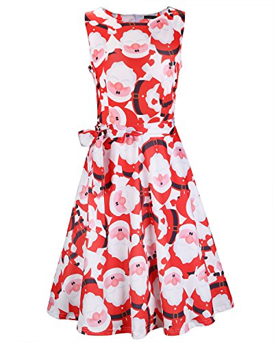 OUGES Women's Fit and Flare Cocktail Dress(Red Santa,M)