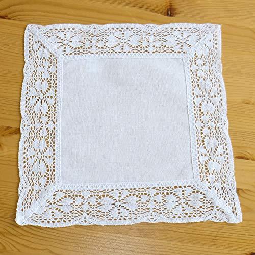 Heimtexland Crochet Curtain & Crochet Cushion White Country House Window Curtain Cushion Cover with Crochet Lace Curtain Decorative Cushion Crochet Type 521 Cottage Deckchen 30x30 cm White