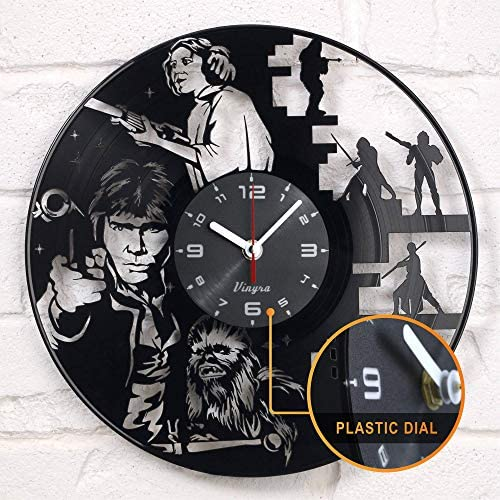 Vinyra Vinyl Wall Clock Compatible with Star Wars Princess Leia Han Solo Chewbacca Themed Home product image