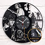 """Vinyra Vinyl Wall Clock Compatible with Star Wars Princess Leia Han Solo Chewbacca Themed Home - Gift Set Idea for Adults, Men, Women, Dad - Kids Room Wall Art Vintage Decor 12"""" LP Record Clock Black"""