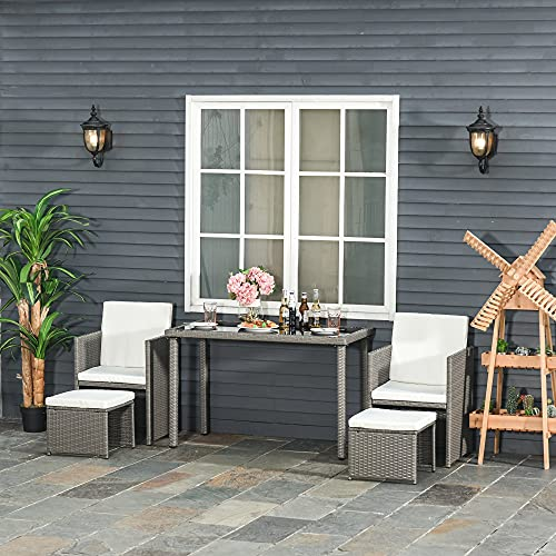 Outsunny 5 PCs Rattan Garden Furniture Space-saving Wicker Weave Sofa Set Conservatory Dining Table Table Chair Footrest Cushioned Grey