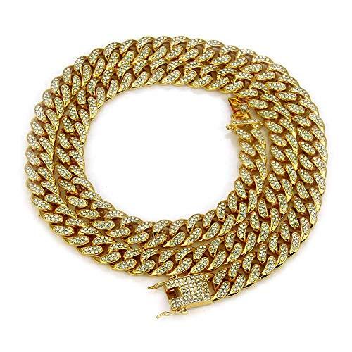 Modow Collar de Cadena Hip Hop Bling, Eslabón Cubano de Diamantes AAA Lab y Candado de Caja,Oro,20''