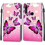 iCaseU Etui en PU Cuir Coque pour Huawei P Smart Z Flip Folio Housse Magnétique Papillon Rose...